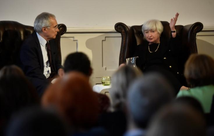 The Federal Reserve Board Chairwoman Janet Yellen speaks during a discussion with the President of the British Academy Nicholas Stern during The British Academy President's Lecture in London