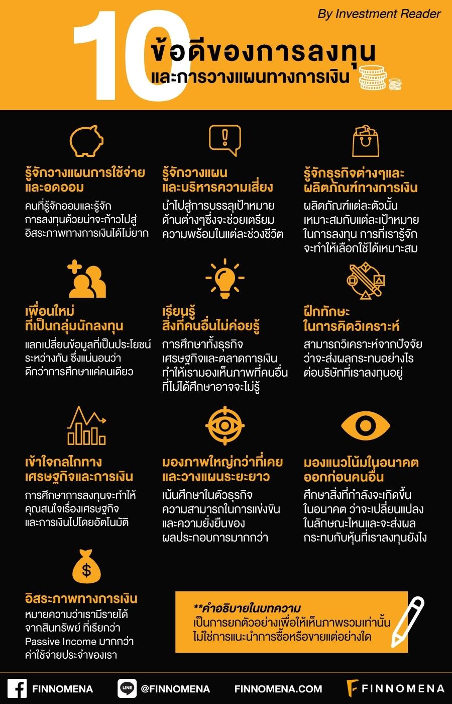 10 ข้อดีของการลงทุนและการวางแผนทางการเงิน