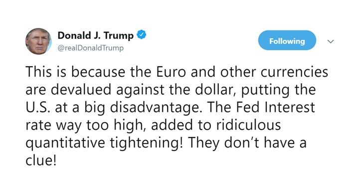 ทรัมป์กร้าว!! ดอลลาร์สหรัฐฯตกต่ำเพราะนโนบายจาก Fed