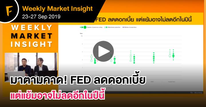 มาตามคาด! FED ลดดอกเบี้ย แต่แย้มอาจไม่ลดอีกในปีนี้ – FINNOMENA Weekly Market Insight
