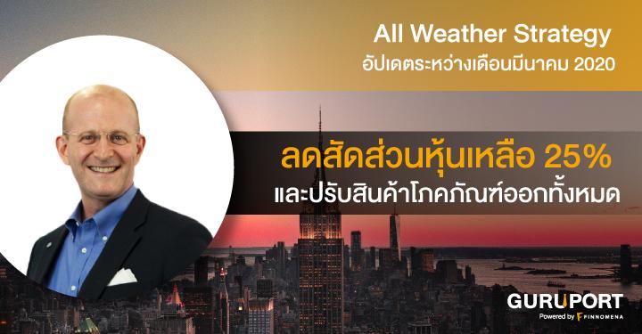 All Weather Strategy อัปเดตระหว่างเดือนมีนาคม 2020: ลดสัดส่วนหุ้นเหลือ 25% และปรับสินค้าโภคภัณฑ์ออกทั้งหมด